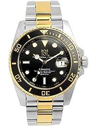 [HYAKUICHI 101] ヒャクイチ ダイバーズ 20気圧防水 腕時計 ウォッチ デイト 逆回転防止ベゼル ギフト プレゼント ブラック×ゴールド