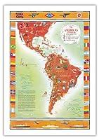 パンアメリカン航空、アメリカン共和国ライン、グレースライン、ユナイテッドフルーツ社が役立ったアメリカ人 - 船や飛行機のルート地図PAN AM - ビンテージな航空会社のポスター によって作成された ケネス・W・トンプソン c.1948 - 美しいポスターアート