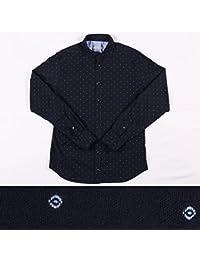 EXIBIT 刺繍 長袖シャツ CA113C730 navy x sky L 14815NS【A14819】 エグジビット [並行輸入品]