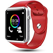 Bluetooth Smart Watch, Leegoal HD Touch Screen Smart Wrist Watch Smartwatch Phone with SIM Card Slot Camera Pedometer Sport Tracker for IOS iPhone Android Samsung LG Smartphones for Men Women Kids (Red)