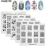 KADS スタンピングプレート5枚セット 可愛いハート ネイルステンシル ネイルアートツール ネイルデザイン用品(セット1)