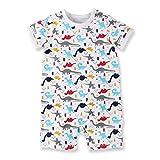 Baby Nest 夏 ベビー服 半袖ロンパース 女の子 男の子 肩ボタン フルプリント コットン ドラゴン-2 6-9M