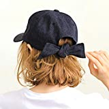 キャップ レディース リボン 帽子 ベージュ 黒キャップ かわいい カジュアル サイズ調整 日よけ 春 夏 イチヨンプラス 14+ icap0112