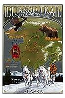 Iditarod地形図Trail–アラスカ 12 x 18 Metal Sign LANT-42138-12x18M