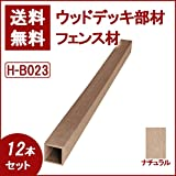 ウッドデッキ 人工木材 人工木 部材 樹脂ウッドデッキ フェンス材 支柱H-B023 50×50×2000mm【H-B023】【2色選択可】 (ナチュラル・12本セット)