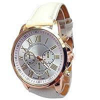 Balakie レディース 腕時計 スタイリッシュな数字 マルチダイアル 6ポインター フェイクレザー バンド アナログクォーツ腕時計 -A50 旅行ギフト One Size ホワイト