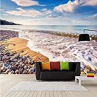Mingld カスタム3 D壁画壁紙3 D美しいビーチ波石玉石写真壁画壁紙3 Dリビングルームの寝室の家の装飾フレスコ画-400X280Cm