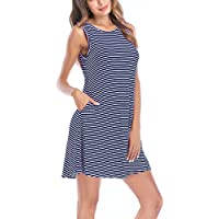 8sanlione Women's Summer Sleeveless Striped Casual Loose Swing T Shirt Dresses with Pockets