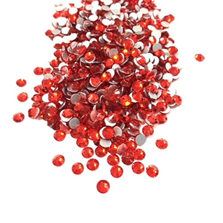 クランプ絶縁するジョイント【ネイルウーマン】最高品質ガラスストーン!スワロ同等の輝き! ライトシャム レッド 赤 (約100粒入り) (SS12, ライトシャム)