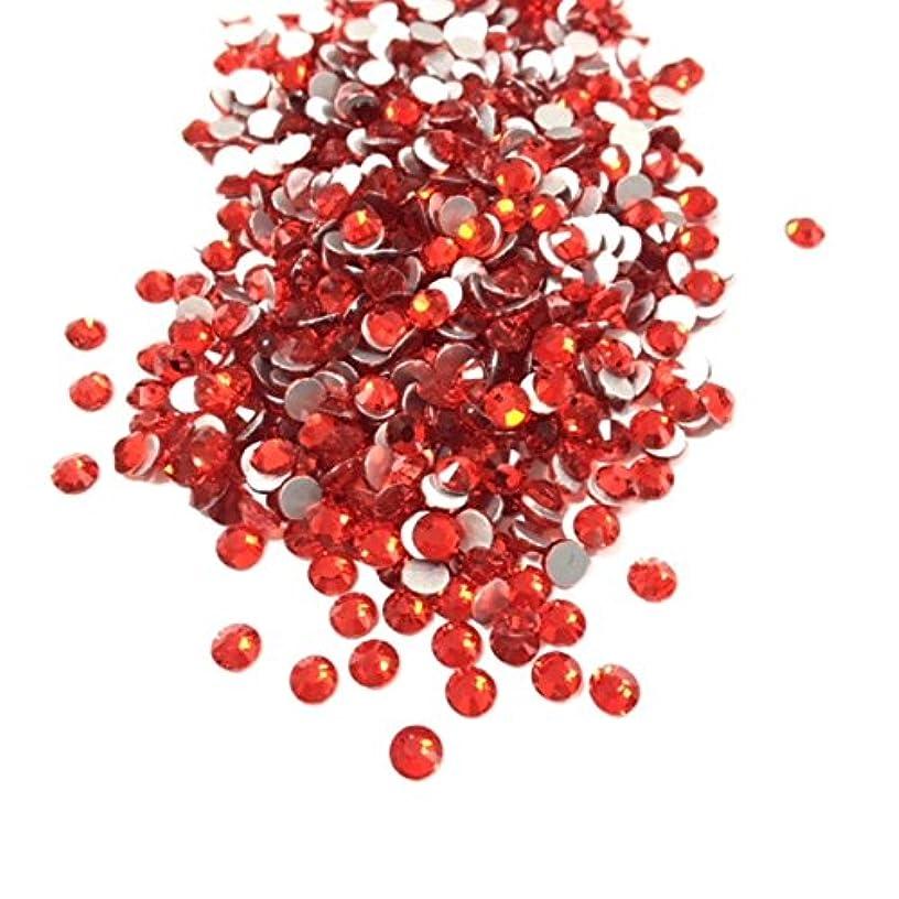 【ネイルウーマン】最高品質ガラスストーン!スワロ同等の輝き! ライトシャム レッド 赤 (約100粒入り) (SS12, ライトシャム)