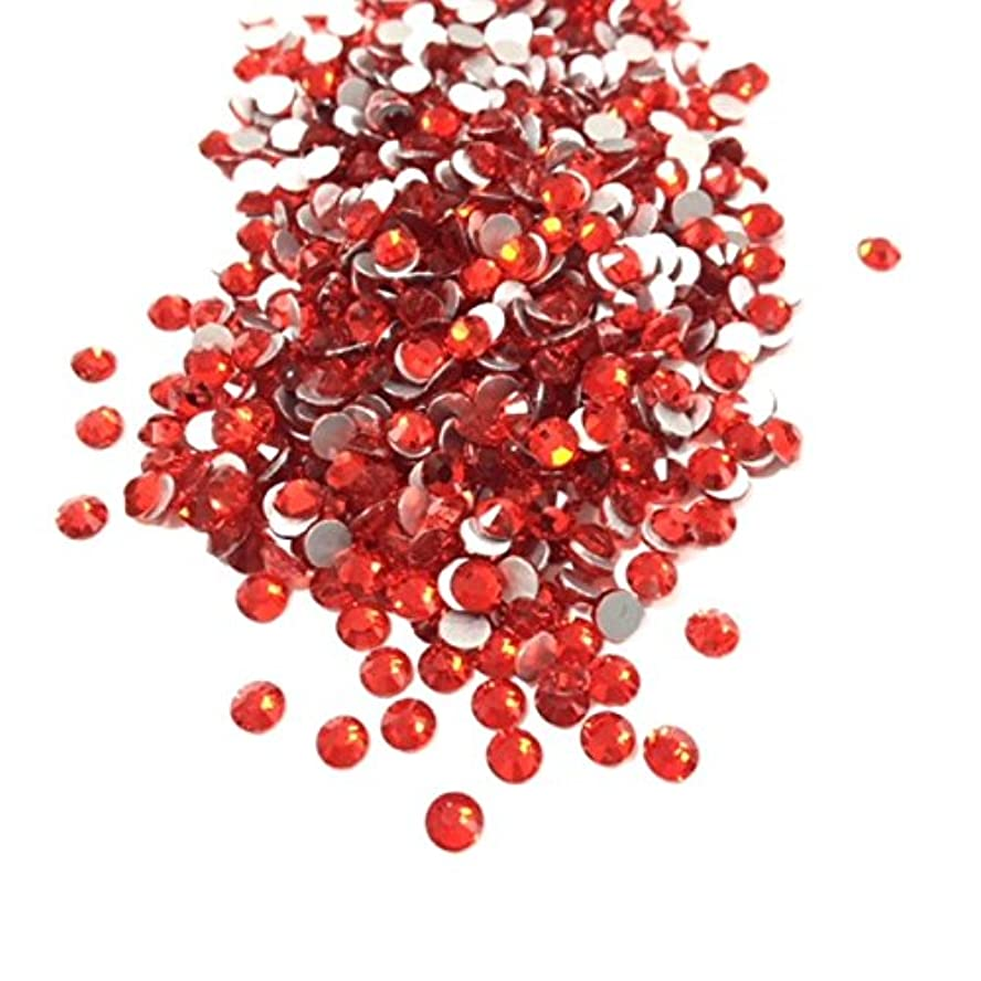 【ネイルウーマン】最高品質ガラスストーン!スワロ同等の輝き! ライトシャム レッド 赤 (約100粒入り) (SS8, ライトシャム)