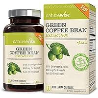 【アメリカから直輸入】 NatureWise 100%ピュアオールナチュラルウェイトロスサプリメント グリーンコーヒービーン 800mg 60カプセル 【並行輸入品】 Green Coffee Bean Extract 800, 100% Pure All Natural Weight Loss Supplement for All Body Types海外直送品