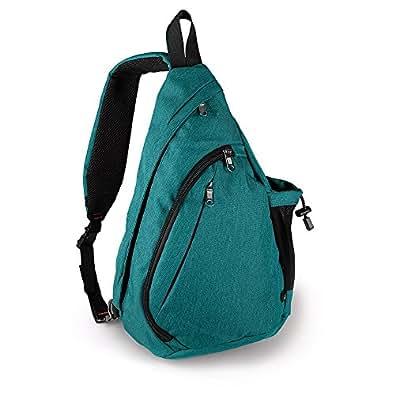 [OutdoorMaster] アウトドアスポーツ ワンショルダー 胸パック 通学バッグ キャンプバッグ 旅行パック サイクリング 経典形 斜めがけ しずくパック (緑)