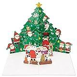 サンリオ クリスマスカード 洋風 ポップアップ 飛び出すツリーとサンタたち  S6164