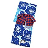 [ KIMONOMACHI ] 作り帯 浴衣セット「青×瑠璃紺 お花と猫」 F