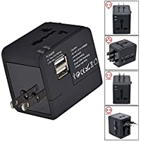 Travel Adapter, InaRock Universal Travel Adapter Worldwide All in One International Travel Plug Adapter with Dual USB Charging Ports for USA EU UK AUS, Asia Covers 150+ Countries - Black
