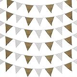 PandaTree 結婚式 ガーランド フラッグガーランド 誕生日 黄麻布製 三角旗 DIY バナー キャンプ パーティー バースデー クリスマス 二次会 お祝い飾り