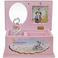 ピンクキュートスワン回転Musicalジュエリーボックス写真挿入可能なミラー音楽ボックスチェストオーガナイザークリスマスギフトの女の子の子