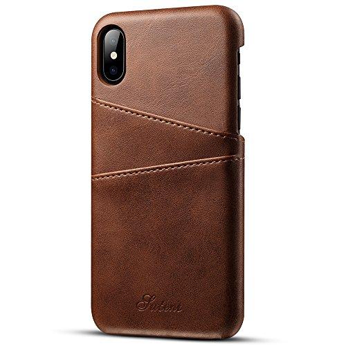 iPhoneX iPhone6/6S/7レザーケース 手帳型 財布型 保護ケース 耐衝撃カバー カード入れ プレゼントに最適(iPhoneX,Brown)