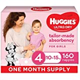 Huggies Ultra Dry Nappies, Girls, Size 4 Toddler (10-15kg), 160 Count, One-Month Supply, Packaging May Vary