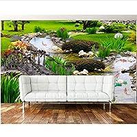 自然風景3D壁紙グラスクリーク木製の橋写真壁画テレビの背景壁3Dの壁紙-400X280Cm