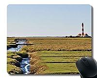 Yanteng天然ゴムマウスパッド印刷建物の灯台の草の風景 - ステッチエッジ