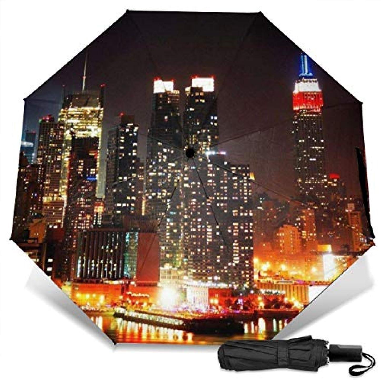 最終的に旅敬意夜のニューヨーク市マンハッタンのスカイライン折りたたみ傘 軽量 手動三つ折り傘 日傘 耐風撥水 晴雨兼用 遮光遮熱 紫外線対策 携帯用かさ 出張旅行通勤 女性と男性用 (黒ゴム)
