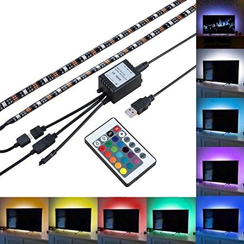 RioRand LEDテープライト テレビ照明 高輝度 チューブライト 間接照明 防水防滴タイプ クリアジェル 切断可能 USB接続 強粘着両面テープ仕様(カラフル)