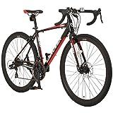 CANOVER(カノーバー) ロードバイク 700C シマノ21段変速 適応身長:160cm以上 CAR-014-DC (NERO) フロントディスクブレーキ アルミフレーム フロントLEDライト付 [メーカー保証1年]