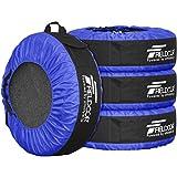 FIELDOOR タイヤバッグ タイヤトート タイヤカバー 4枚セット/フェルトパッド1枚付き ブルー (22-30インチタイヤ対応)