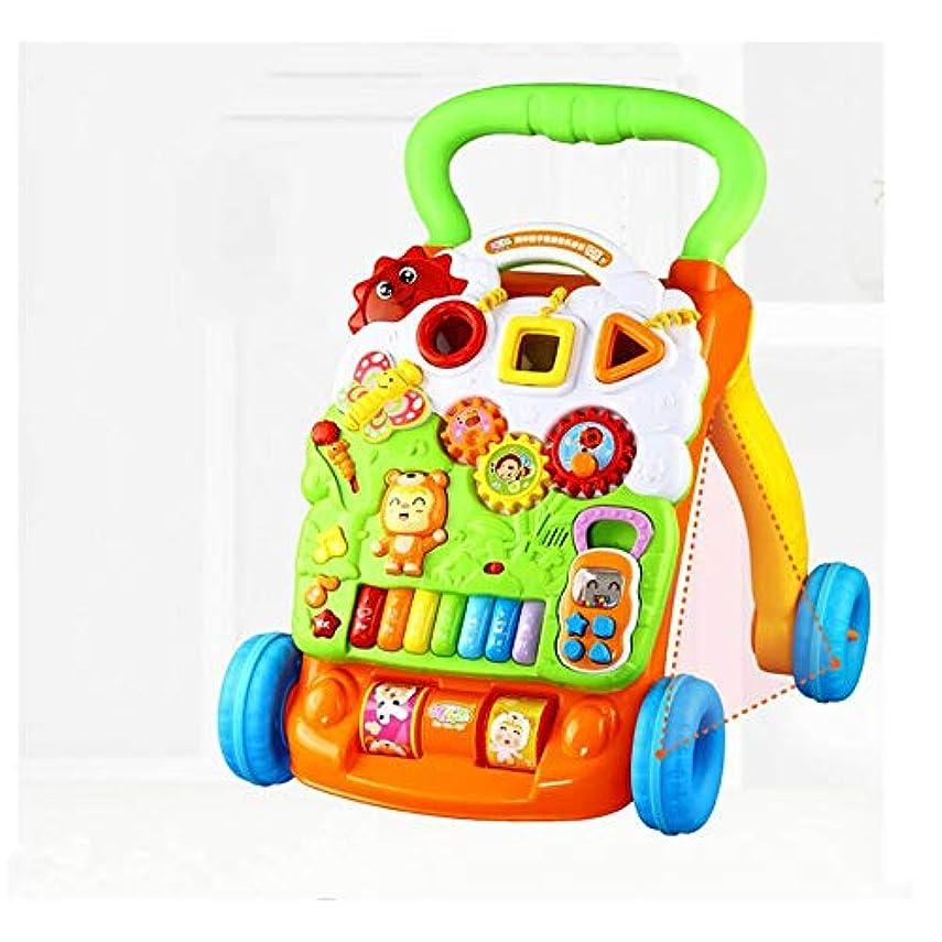 模索音楽を聴く散文ZHGY ベビーウォーカートロリーおもちゃ子供多目的ウォーキングウォーキングウォーカーアンチロールオーバー調節可能な速度
