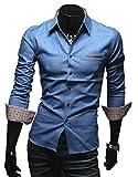 [50dB] メンズ シャツ 長袖 ギンガム フルオープン レギュラーカラー インディゴ vネック ビジネス クロス スリム ポケット 付き つき 七分袖 しちぶそで オーバー 7分袖 7分袖 はおり メンス゛ (ブルー XL)