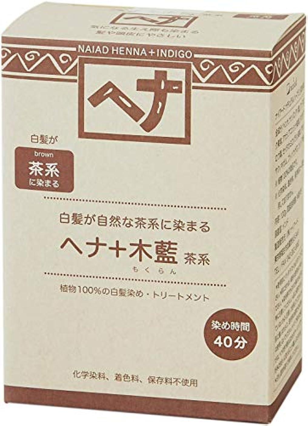 アジア価値のない直径Naiad(ナイアード) ヘナ+木藍 茶系 100g