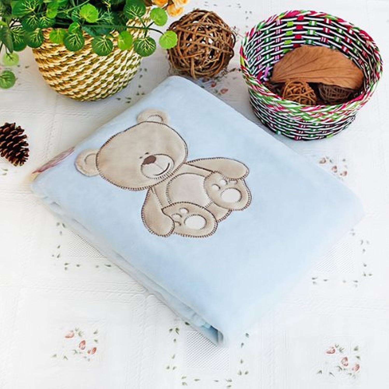 「可愛いベア」刺繍アップリケポーラーフリースベビースローブランケット(78cm*100.1cm)