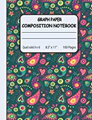 Graph Paper Composition Notebook: Floral Graph Paper Notebook for Math and Science Students 100 Sheets Quad Ru