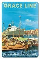 22cm x 30cmヴィンテージハワイアンティンサイン - カリブ海 - 南米クルーズ - ウィレム?ハーバー、キュラソー、西インド諸島 - グレースライン - ビンテージな遠洋定期船のポスター によって作成された カール・G・エバーズ c.1957
