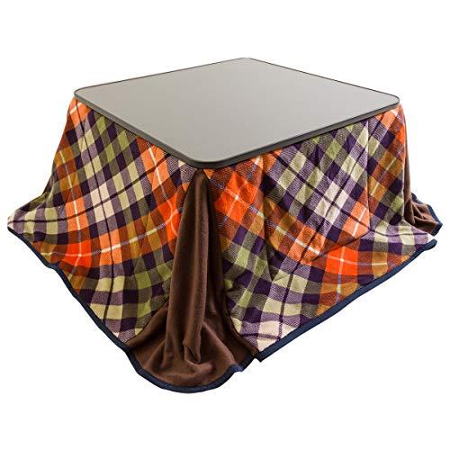 【こたつ2点セット リバーシブル省スペース 一人暮らしの方に (掛け布団 テーブル)】 とろけるような肌触りのフランネル生地 リバーシブル仕様のこたつテーブル 70cm幅のコンパクトサイズ (ブラック色)