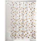 "InterDesign Gilly Dot PVC-Free Peva Fabric Shower Curtain, 72"" X 72"" - Metallic"