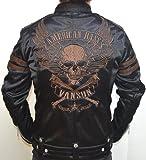 当店別注 VANSON バンソン ボンディング シングル ライダース フライングスカル 背面総刺繍 ABV-307 ブラックC色 アメカジ バイカー