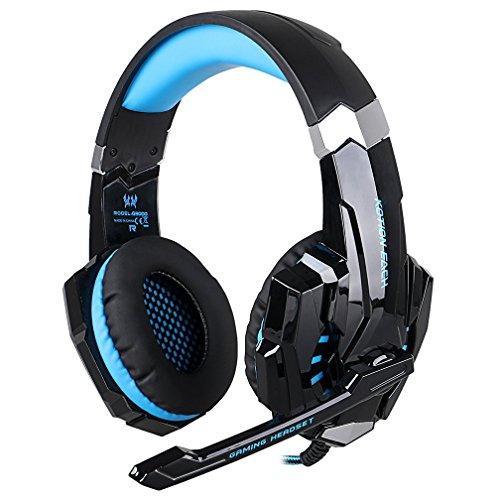 ゲーミングヘッドセット KOTION EACH G9000 3.5mmステレオ ヘッドホン pc用ヘッドセット ライト付 プレスデーション4 PS4 iPhone PC スマートホン 対応 ブラック&ブルー