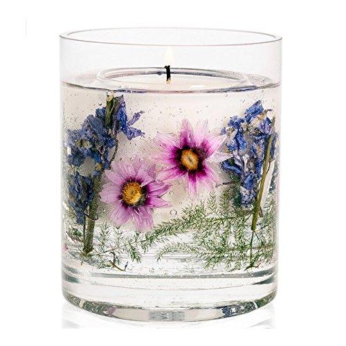 ハーバリウム キャンドルホルダー STONEGLOW ガラス プリザーブドフラワー ジェル アロマキャンドルスタンド (イングリッシュカントリーガーデン)