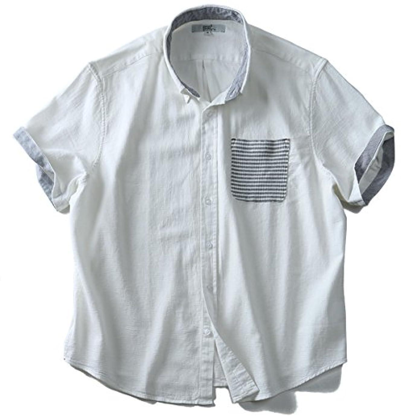くぼみ快い窓を洗う半袖パナマポケット鹿の子切替ボタンダウンシャツ 大きいサイズ メンズ 2L 3L 4L 5L 6L DANIEL DODD