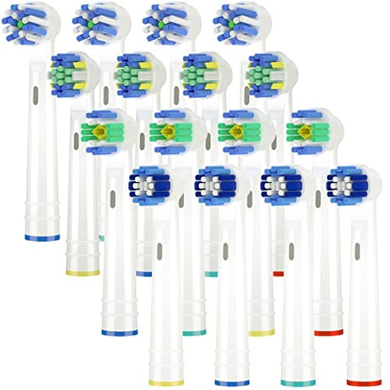 トリプル解決ネブItechnik 電動歯ブラシ 替えブラシ ブラウン オーラルB 対応 替えブラシ 4種類が入り:ホワイトニングブラシ 、ベーシックブラシ、歯間ワイパー付きブラシ、マルチアクションブラシ 凡用な16本