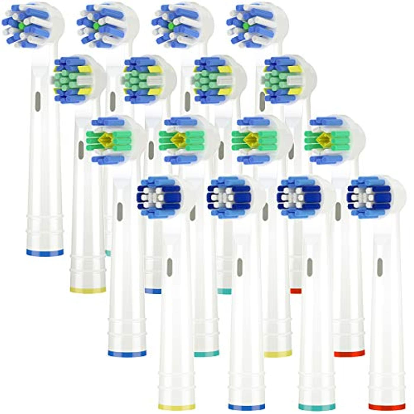 漫画より多いウェイターItechnik 電動歯ブラシ 替えブラシ ブラウン オーラルB 対応 替えブラシ 4種類が入り:ホワイトニングブラシ 、ベーシックブラシ、歯間ワイパー付きブラシ、マルチアクションブラシ 凡用な16本
