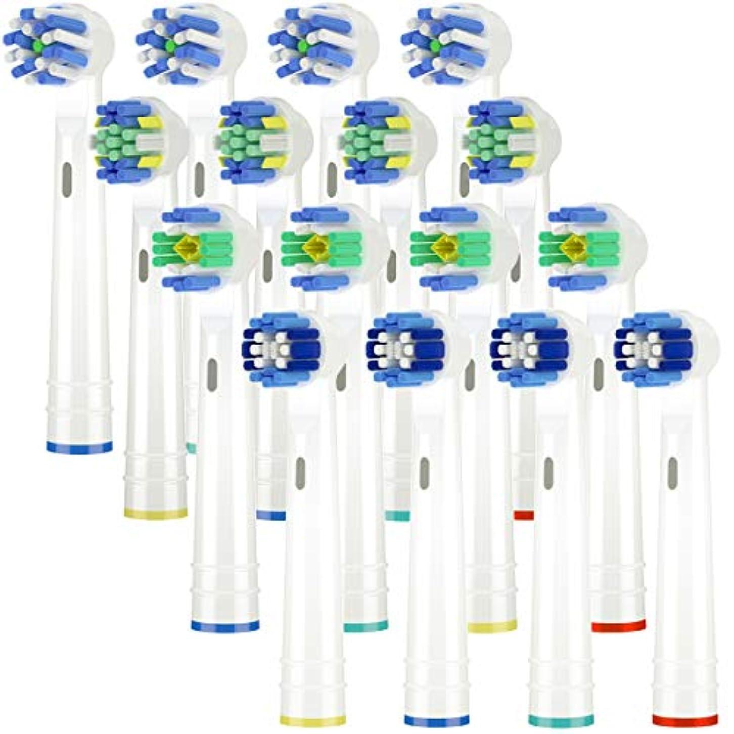 どういたしまして複合黄ばむItechnik 電動歯ブラシ 替えブラシ ブラウン オーラルB 対応 替えブラシ 4種類が入り:ホワイトニングブラシ 、ベーシックブラシ、歯間ワイパー付きブラシ、マルチアクションブラシ 凡用な16本