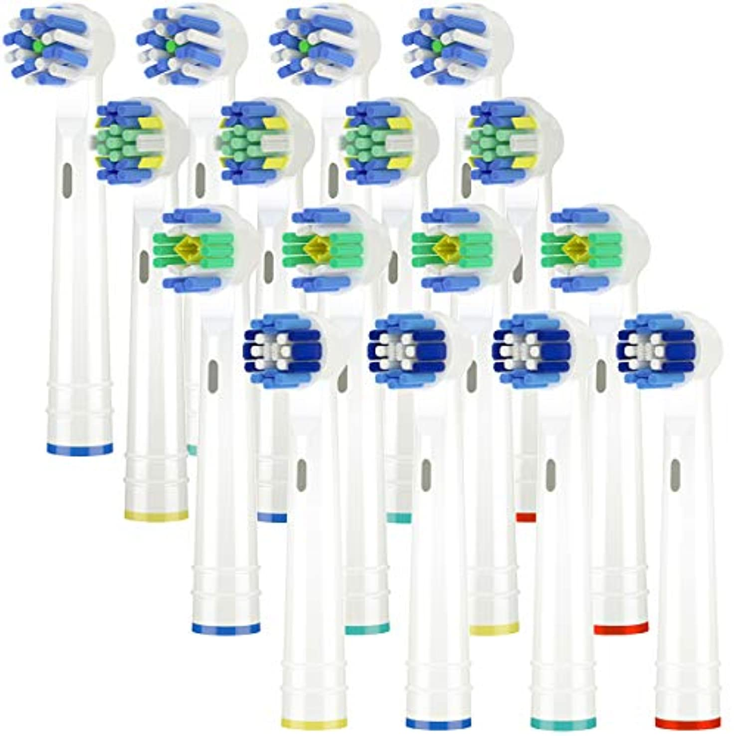 差別懐疑論追い払うItechnik 電動歯ブラシ 替えブラシ ブラウン オーラルB 対応 替えブラシ 4種類が入り:ホワイトニングブラシ 、ベーシックブラシ、歯間ワイパー付きブラシ、マルチアクションブラシ 凡用な16本