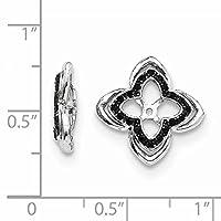 スターリングシルバーW/ロジウムメッキブラックサファイアイヤリングジャケット(0.6in直径)
