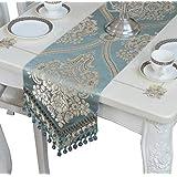 EGROON 上品 豪華 テーブルランナー 優雅 テーブルクロス 食卓カバー テーブルカバー テーブルマット ブルー A