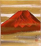 川村白樹『赤富士』色紙絵