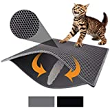 """Pieviev Cat Litter Mat Litter Trapping Mat, 30"""" X 24"""" Inch Honeycomb Double Layer Design Waterproof Urine Proof Trapper Mat for Litter Boxes, Large Size Easy Clean Scatter Control (Grey)"""